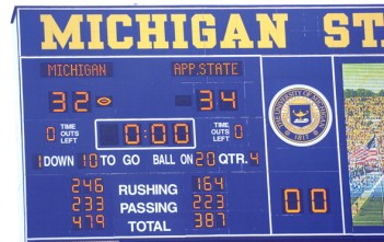 (photo by LARRY E. WRIGHT, The Ann Arbor News) The scoreboard in Michigan Stadium reflects the final score between University of Michigan and Appalachian State University, Saturday, Sept. 01, 2007.