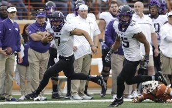 TCU quarterback Kenny Hill (7) runs for a 41-yard touchdown during the second half of an NCAA college football game against Texas, Friday, Nov. 25, 2016, in Austin, Texas. (AP Photo/Eric Gay)