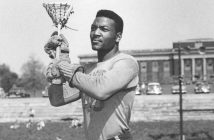 ** ADVANCE FOR WEEKEND EDITIONS MAY 21-22 ** Jim Brown is shown playing in his last college game for Syracuse University in this 1957 handout from Syracuse University. Brown starred as the Orange defeated archrival Army 8-6 to finish the season unbeaten. Brown is not wearing lacrosse shorts because he had competed in a track and field meet prior to the game and only managed to don his jersey prior to the opening faceoff. Brown is regarded by many as the greatest lacrosse player and the greatest running back in football. (AP Photo/Syracuse University Handout)